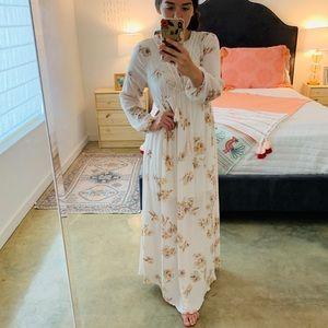 Cream/Pale Pink Floral Dress